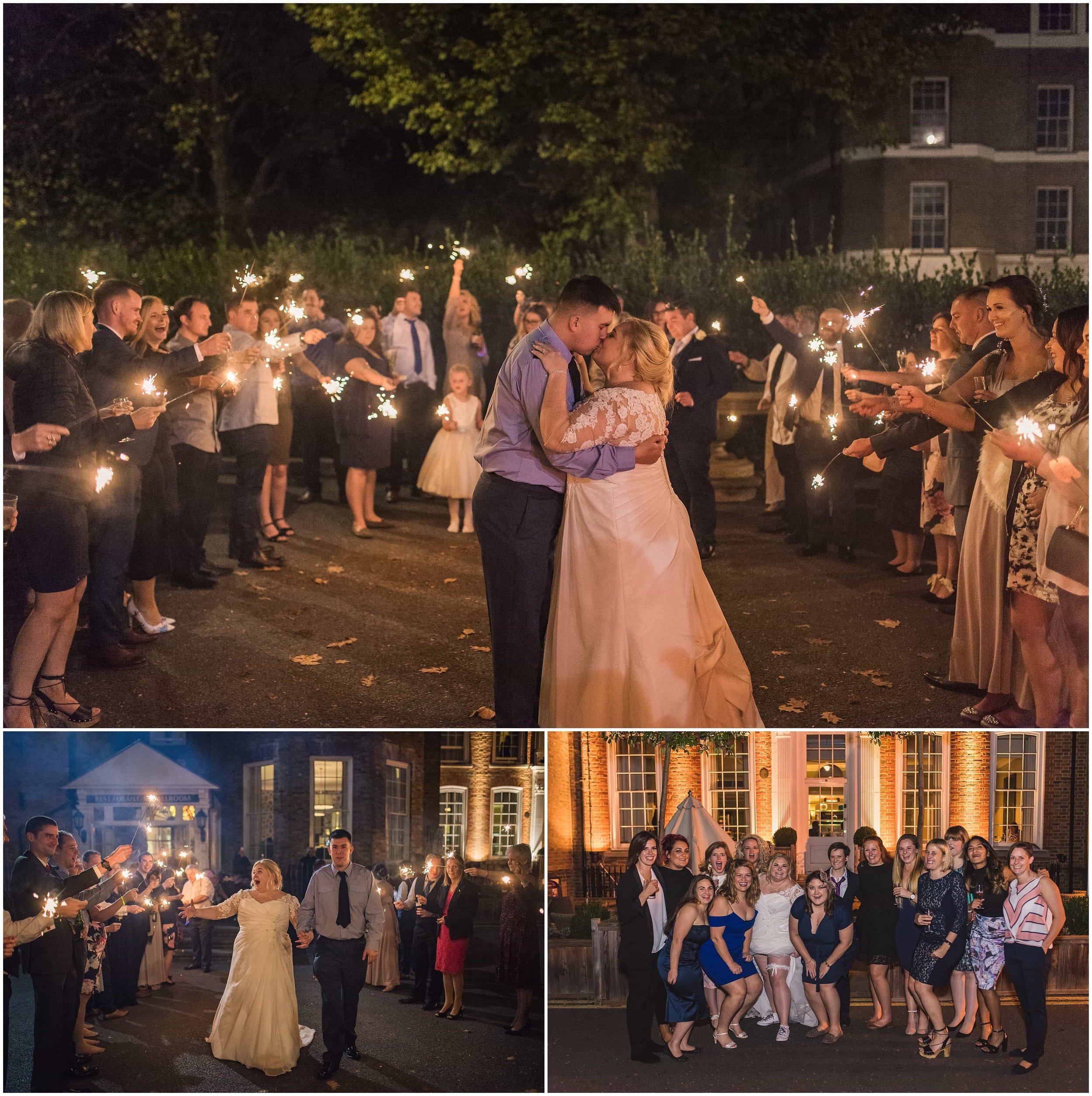 Bride and Groom walk through sparkler exit at London Wedding