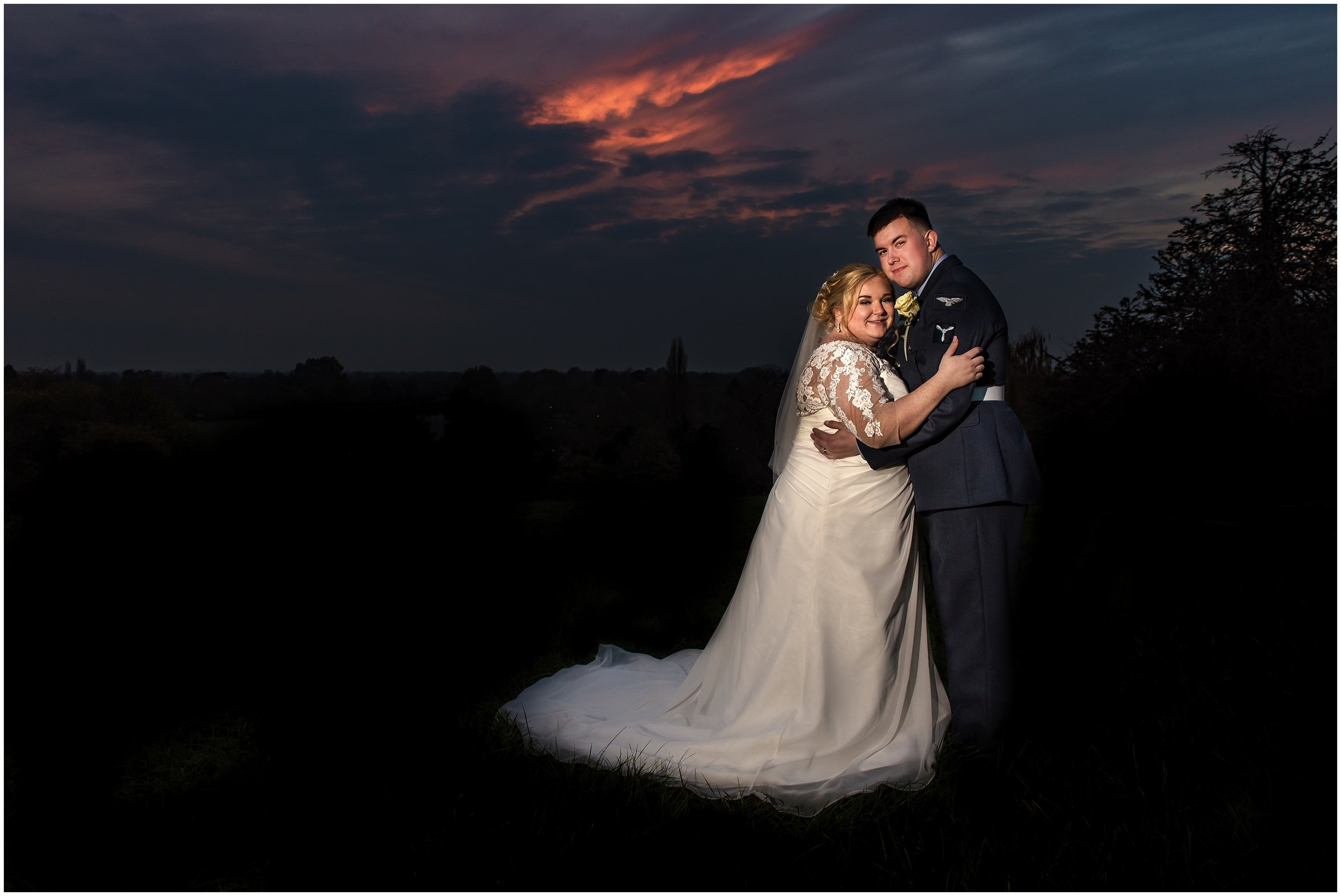 Bride and Groom Sunset portrait at Richmond Hil