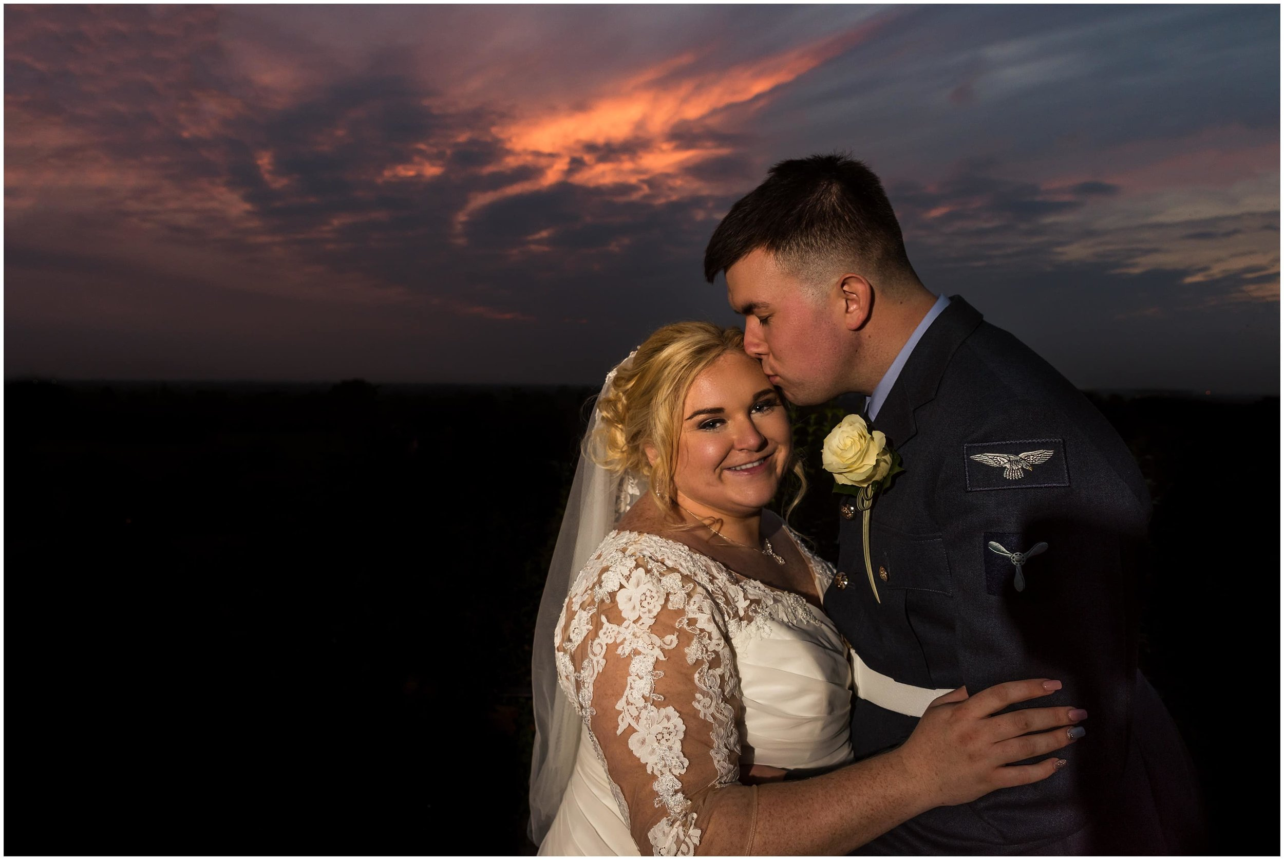Bride and Groom sunset portrait at Richmond Hill Hotel Wedding
