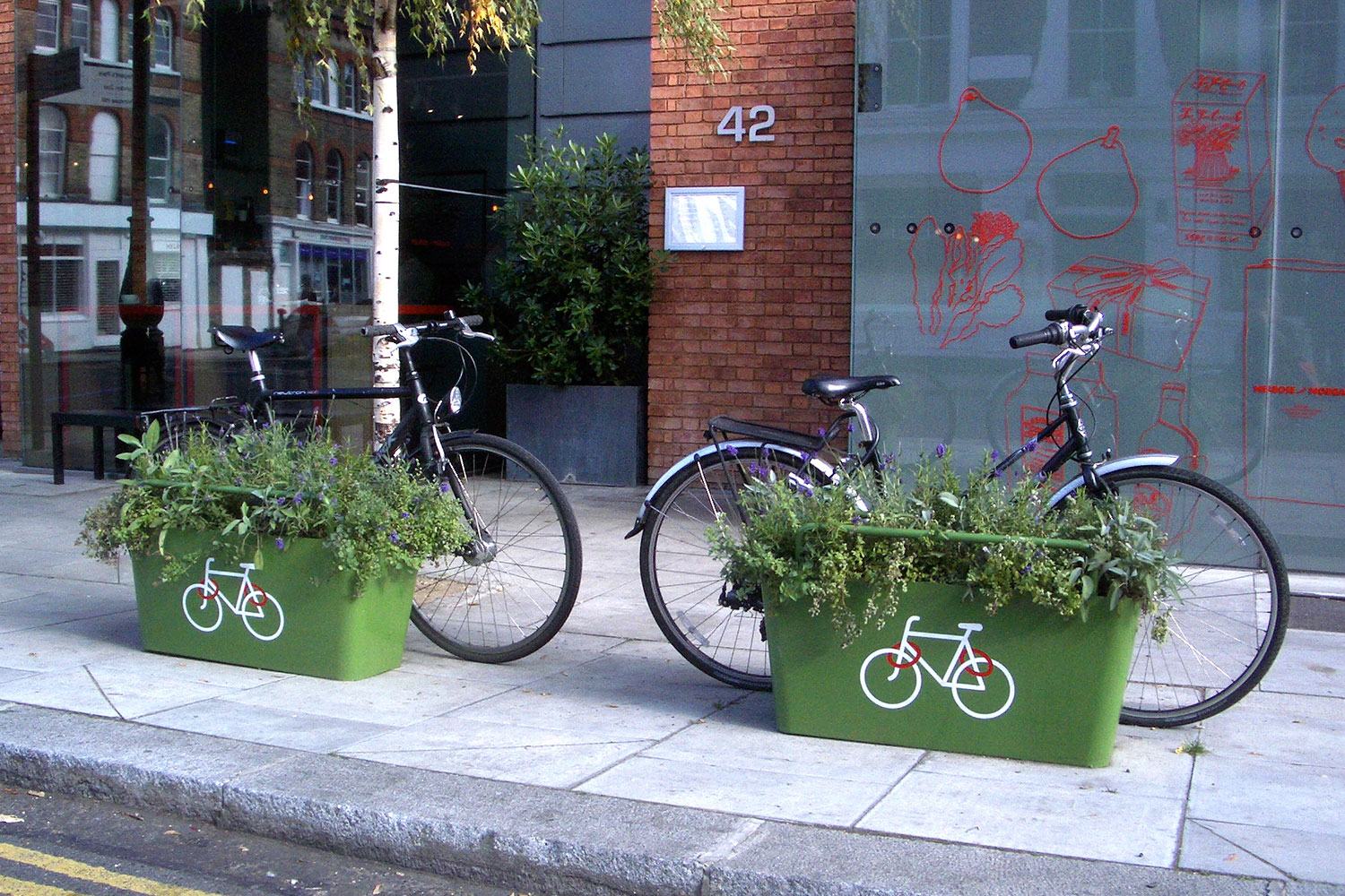Green PlantLocks with decals on one side.