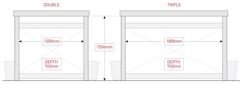 BinDock internal dimensions