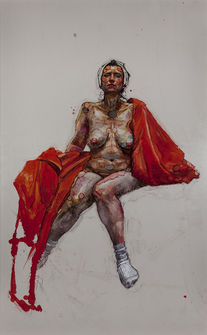 Woman with red sheet and white turban