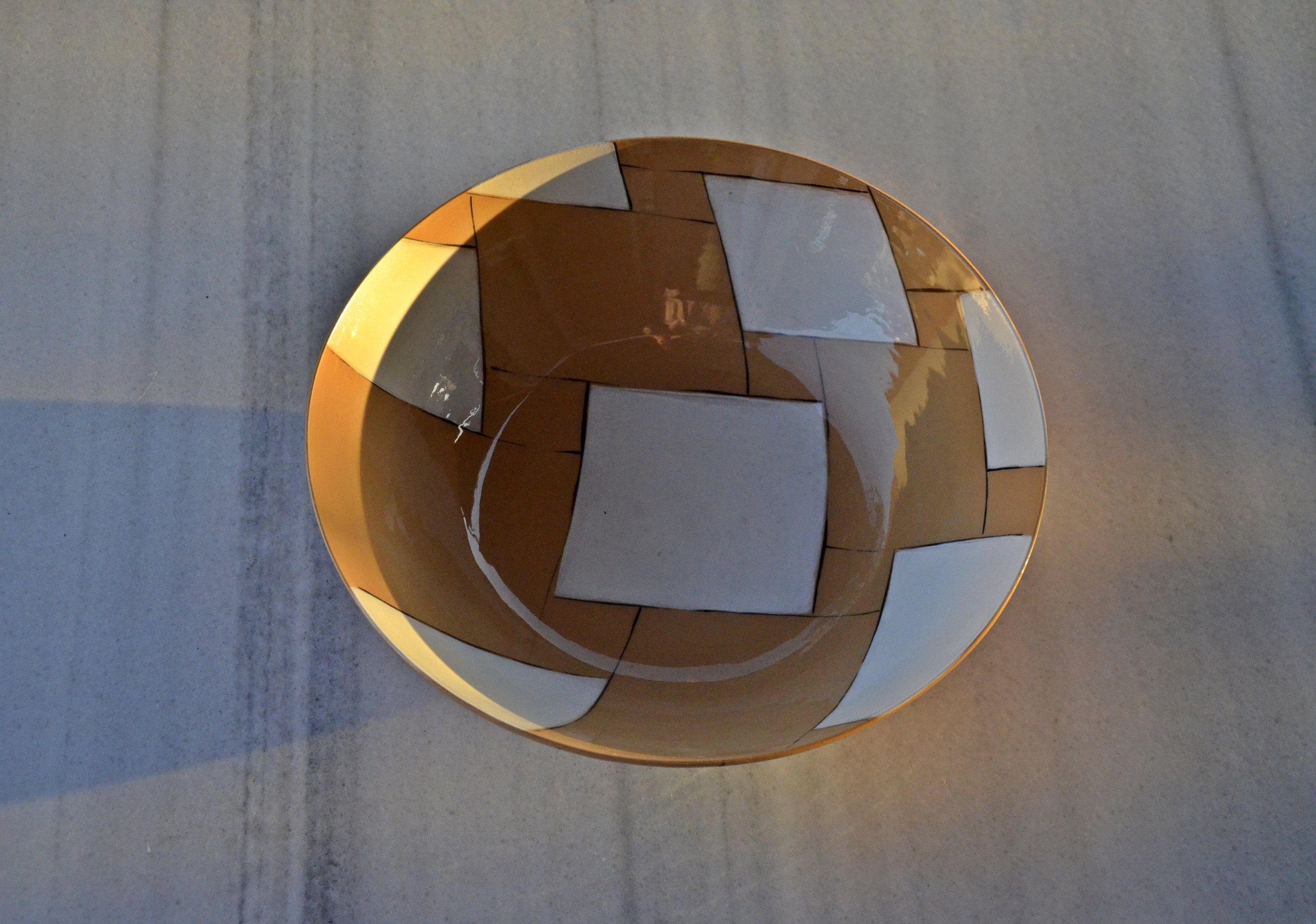 terra cotta blue white hexagon bowl 10 x 26cm (200 E)