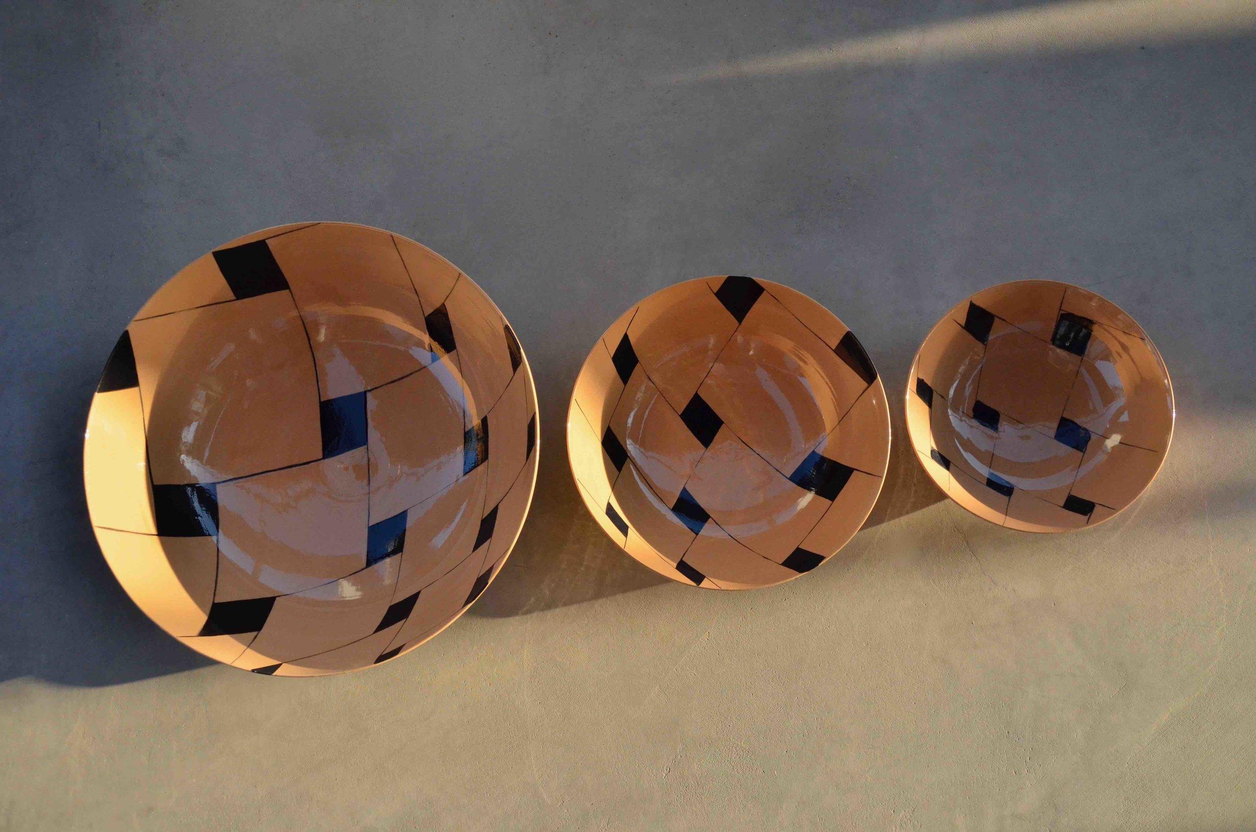 terra cotta ceramic body light black line tile perspective:  bowl 13x36cm(350E) bowl 9x26cm (150E) bowl 7x21cm (60E)
