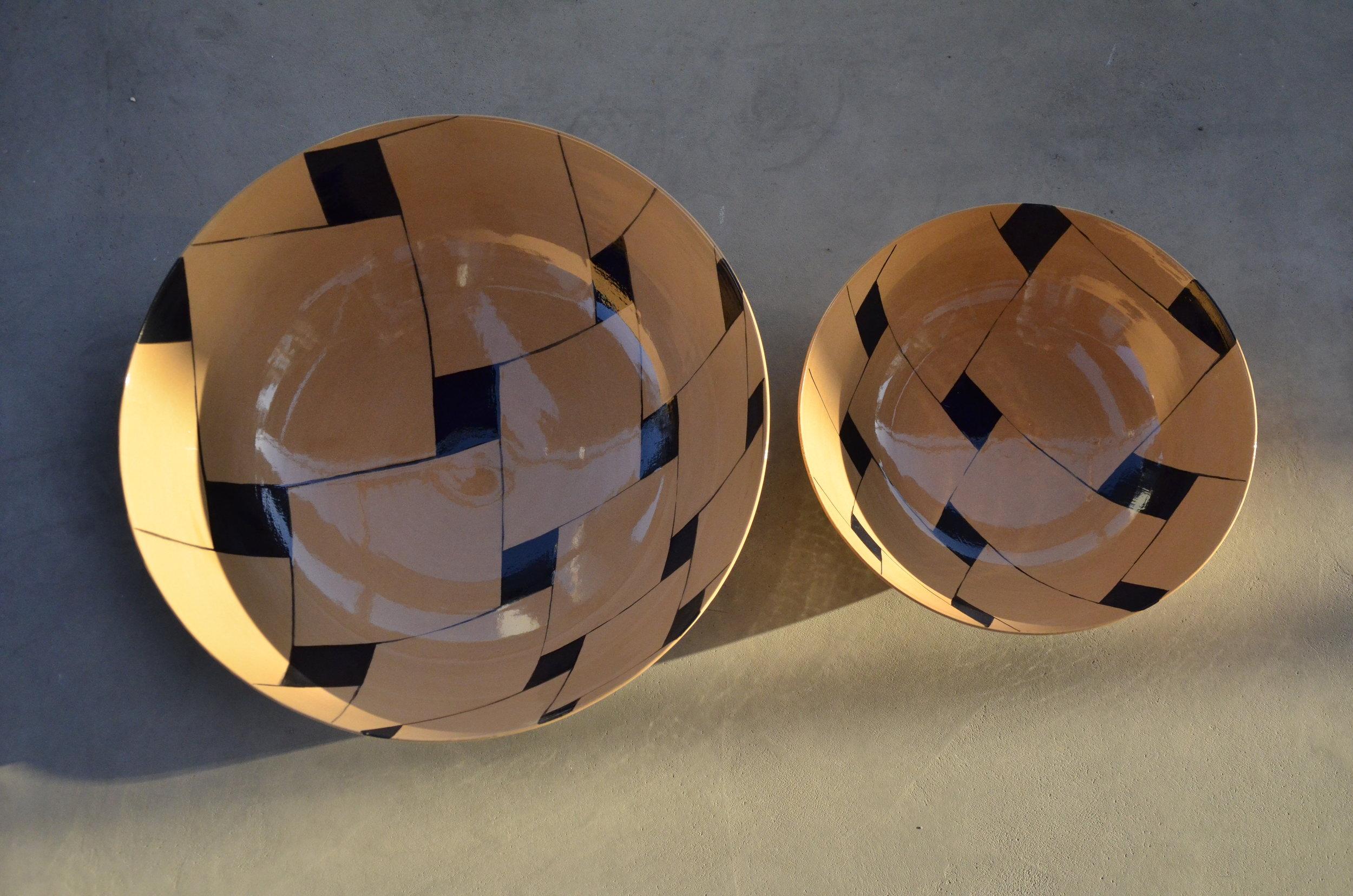 terra cotta ceramic body light black line tile perspective:  bowl 13x36cm(350E) bowl 9x26cm (150E)