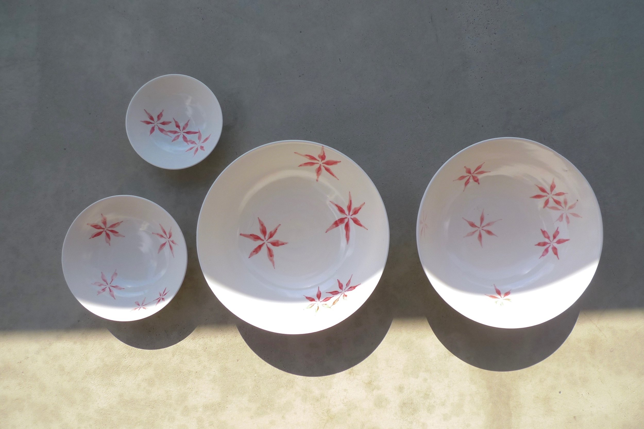white ceramic body: red hexagon flower bowl various colours/sizes 6x16cm ( E),4x11cm(E),3x9cm(E)