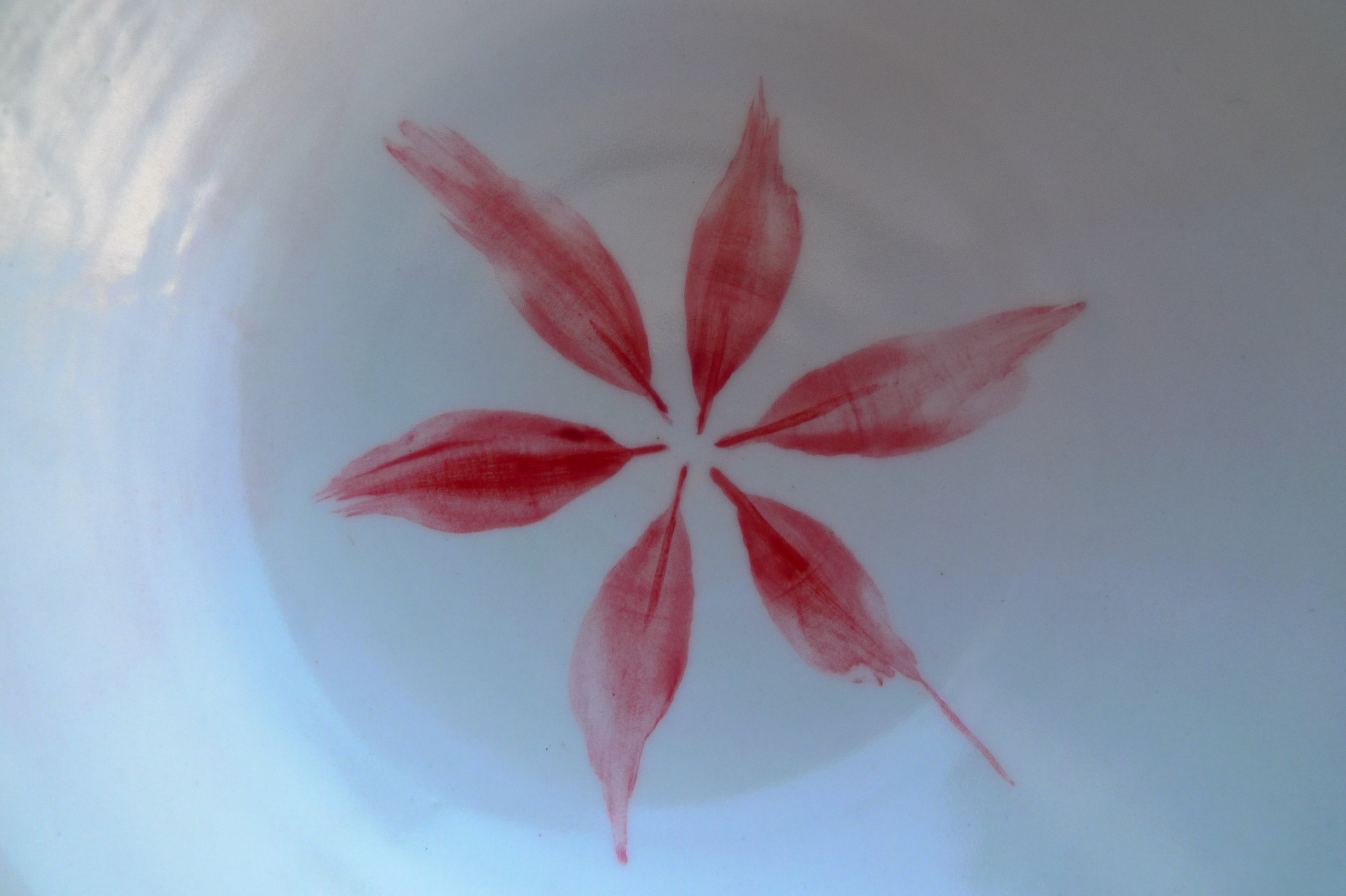 white ceramic body light: detail hexagon flower bowls various colours/sizes