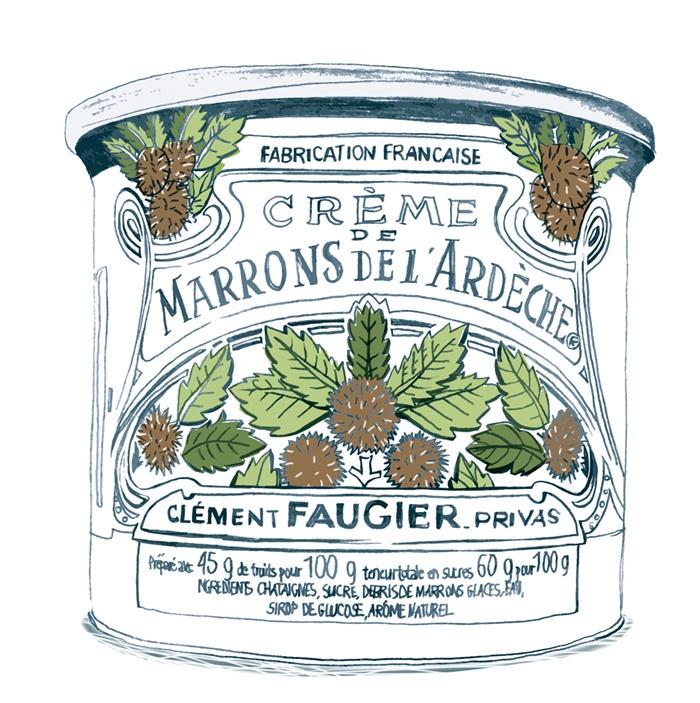 Design illustration of a Creme-De-Marrons food can