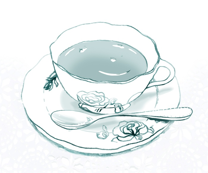 Tea ready in a china set drawing