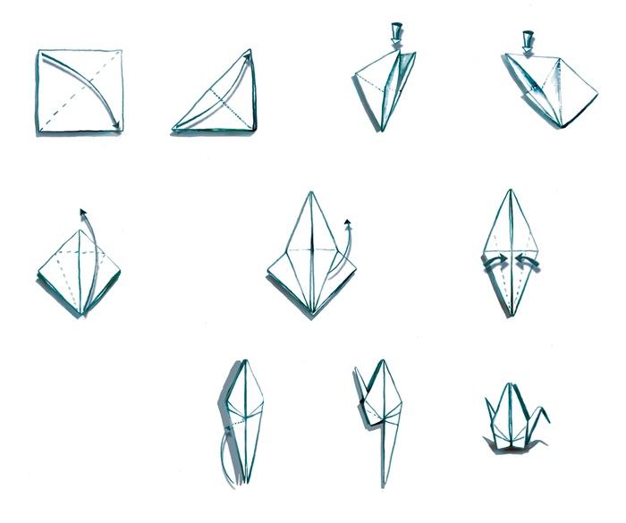 Sketches of paper-bird making procedure