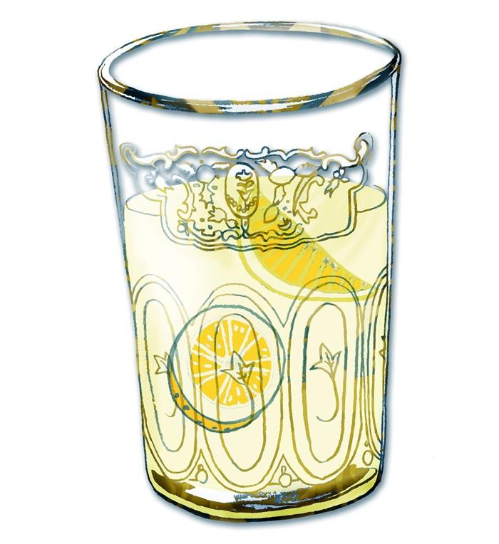 Line drawing of lemon-mint tea in glass