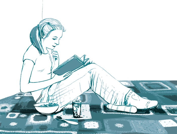 A girl reading book illustration
