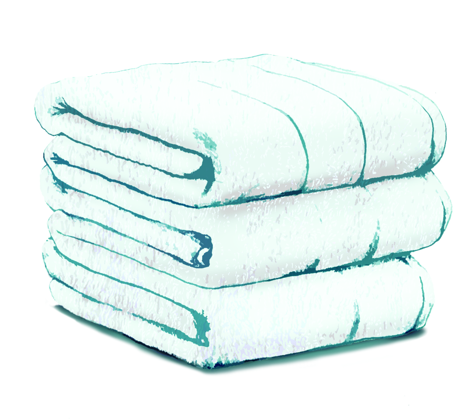 Sketch of carefully folded towels