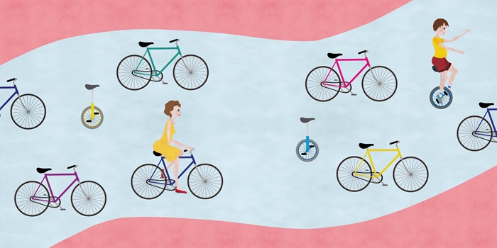 Children's book illustration of lady riding bicycle
