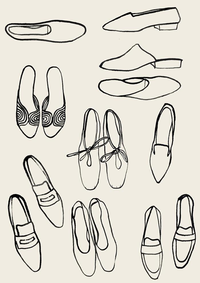 Line art of ladies footwear