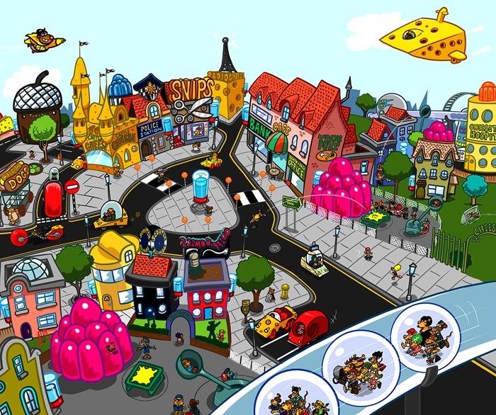 Colourful city cartoon art