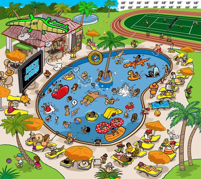 Illustration of people enjoying in swimming pool
