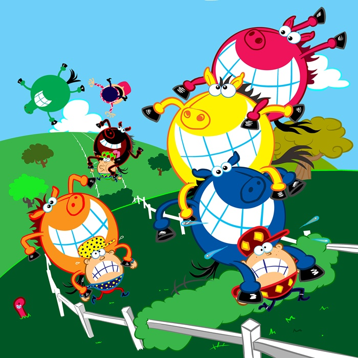 Cows having fun cartoon artwork