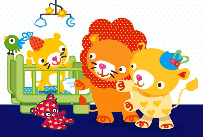 Lion couple with elephant toy illustration