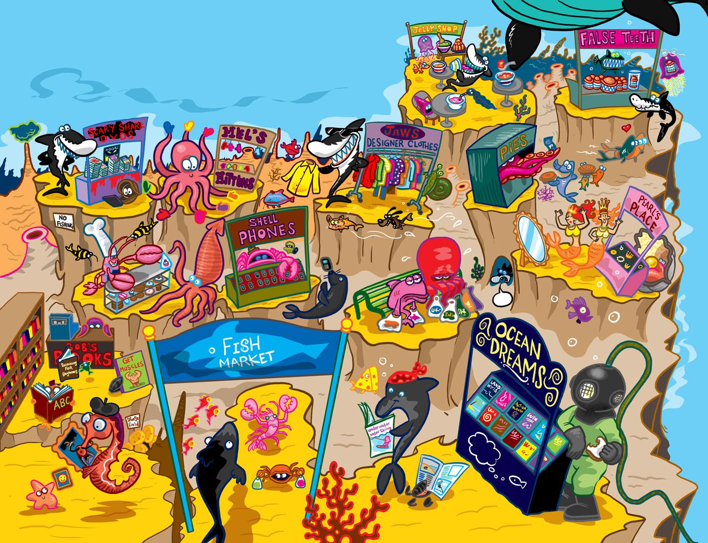 Beach market for aquatic animals illustration