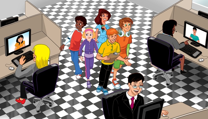 Teacher showing IT office to students illustration