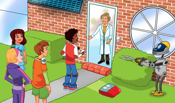 Students visiting laboratory digital art
