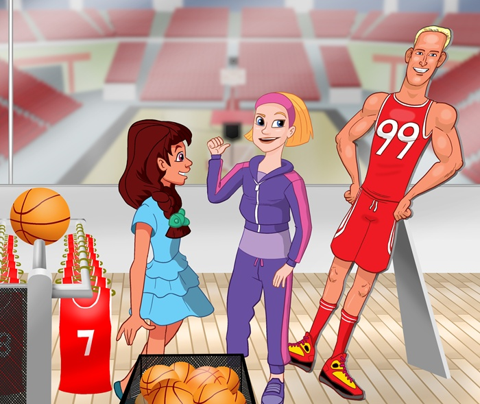 Ladies discussing about basketball player