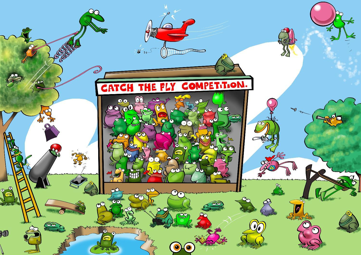 Cartoon frogs playing catch the fly competition