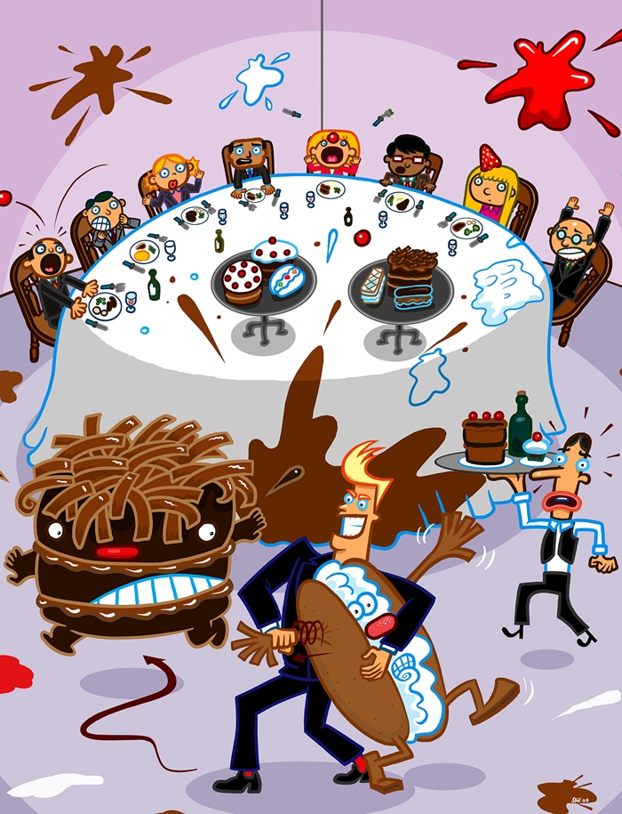 Illustration of a ruined party in restaurant