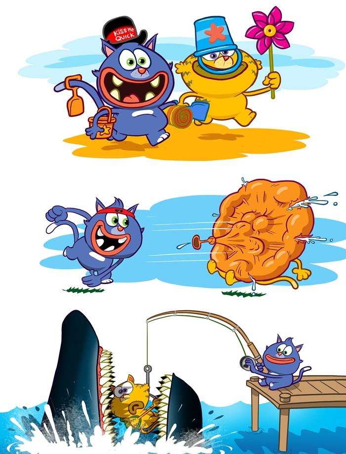Cartoon characters catching shark funny artwork