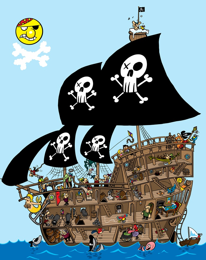 Cartoon illustration of pirate ship with people