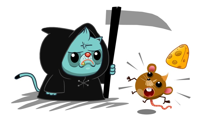 Fight for cheese between cat and rat  digital art