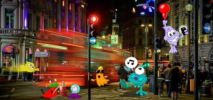 Cartoon characters on busy London street