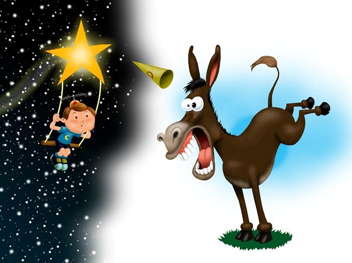 A boy and a donkey funny digital art