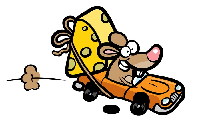Cartoon illustration of mouse driving a car
