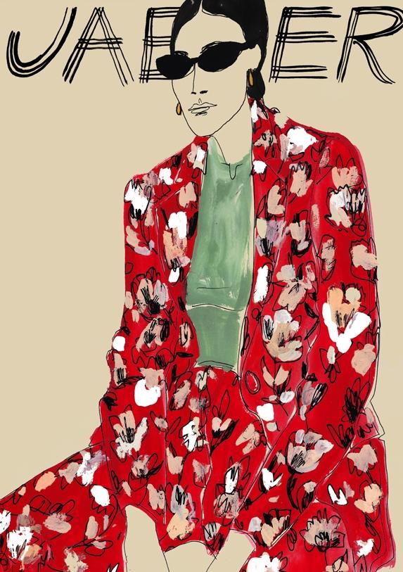 Lady fashion illustration for 'Jaeger'