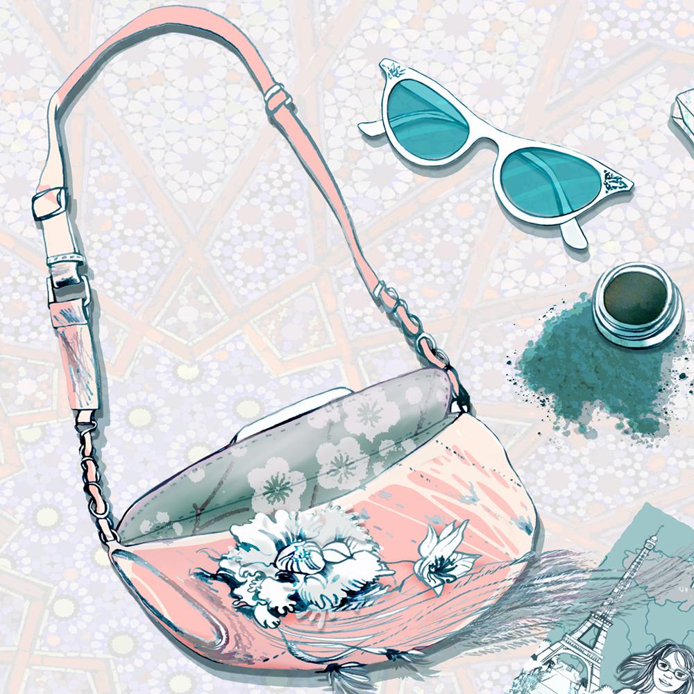 Fashionable lady purse and sunglasses illustration