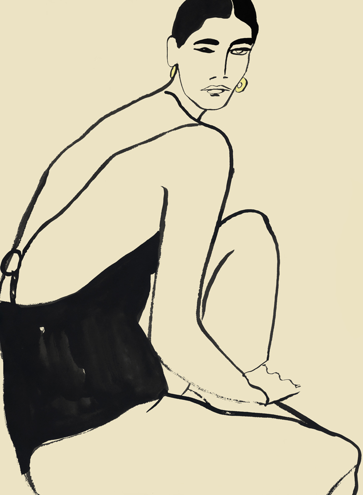 Model In Swimwear - Editorial Illustration
