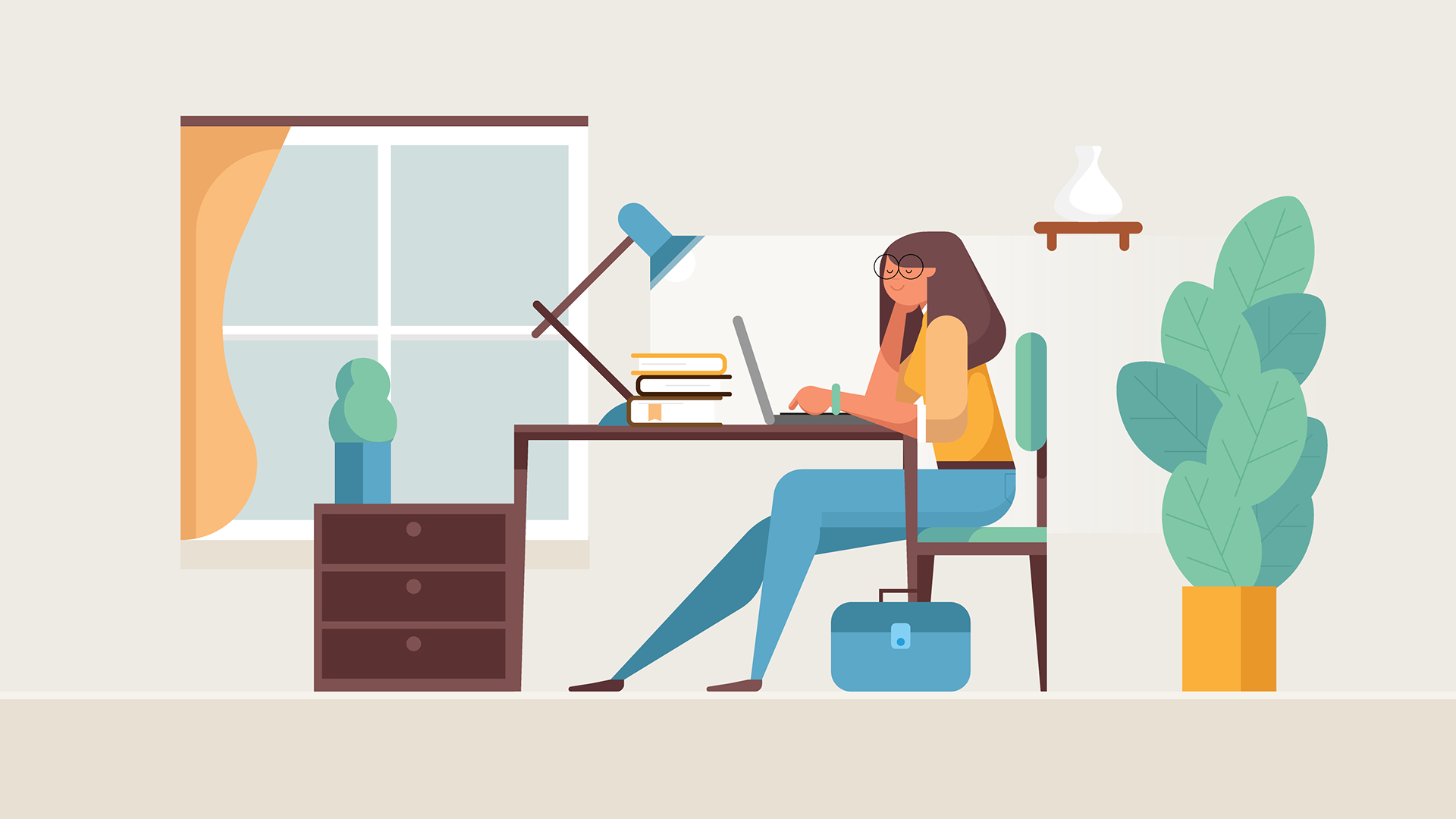 Illustration of lady at study table