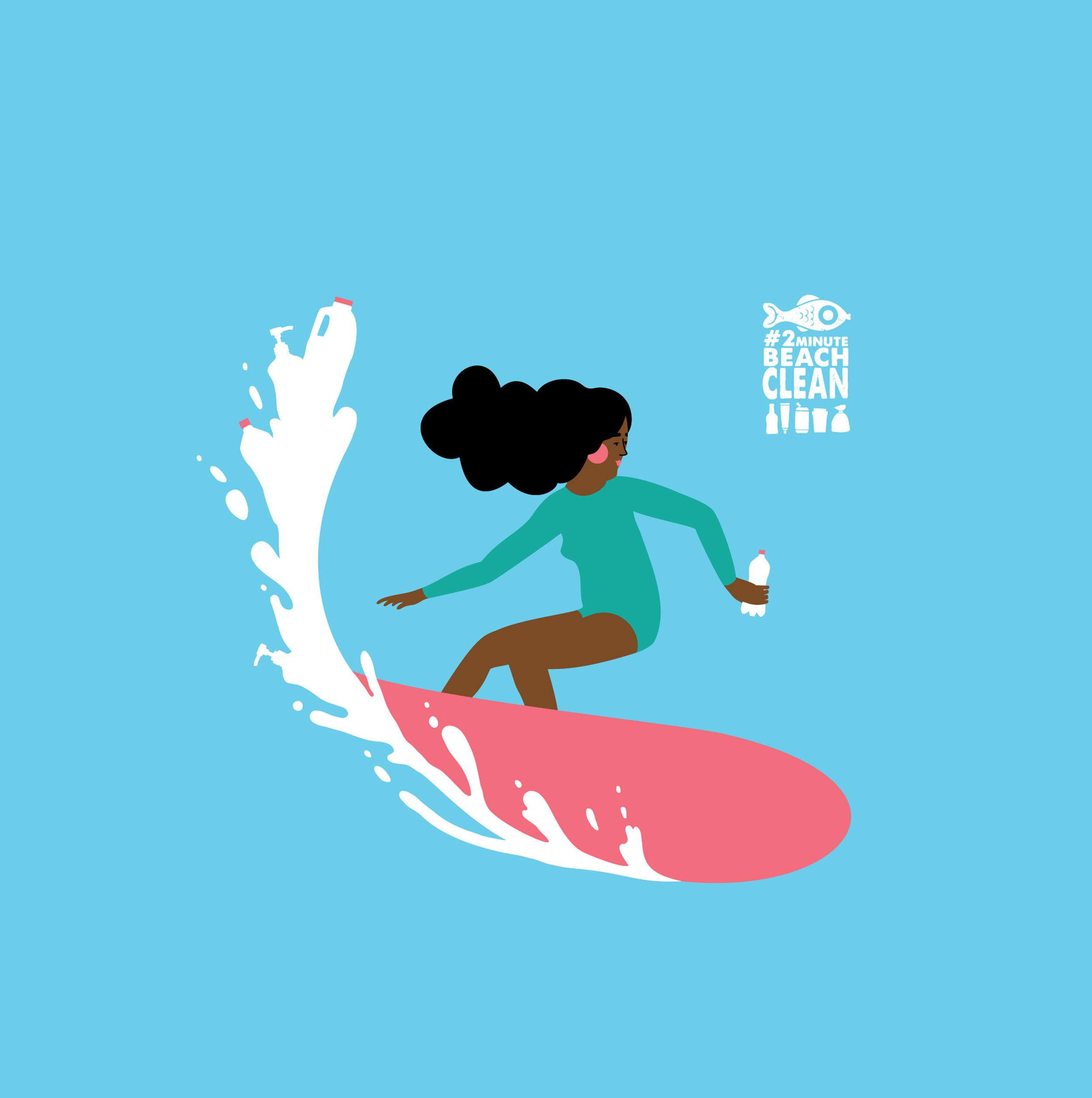 Surfing woman vector art
