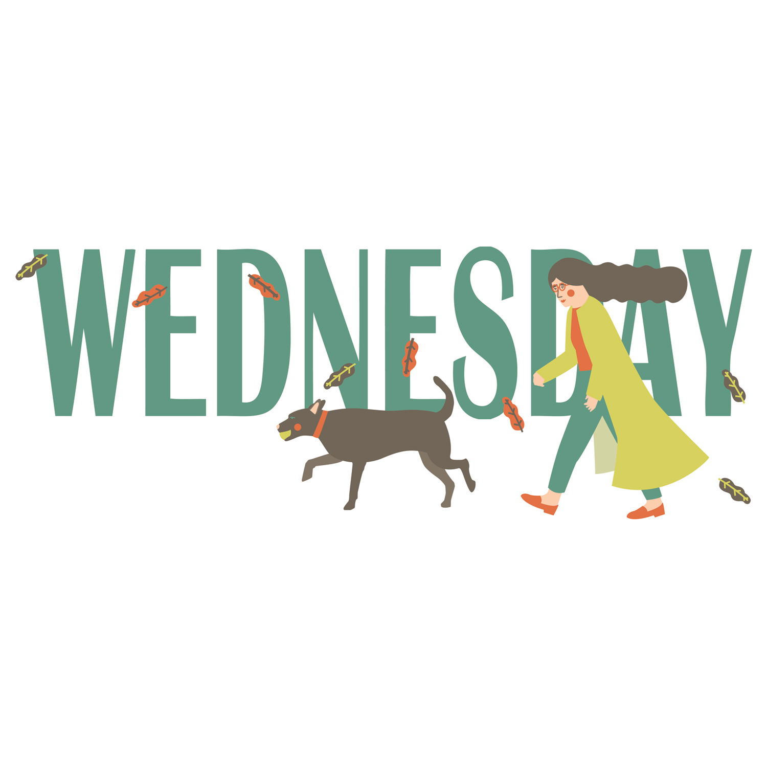 Windy wednesday design illustration