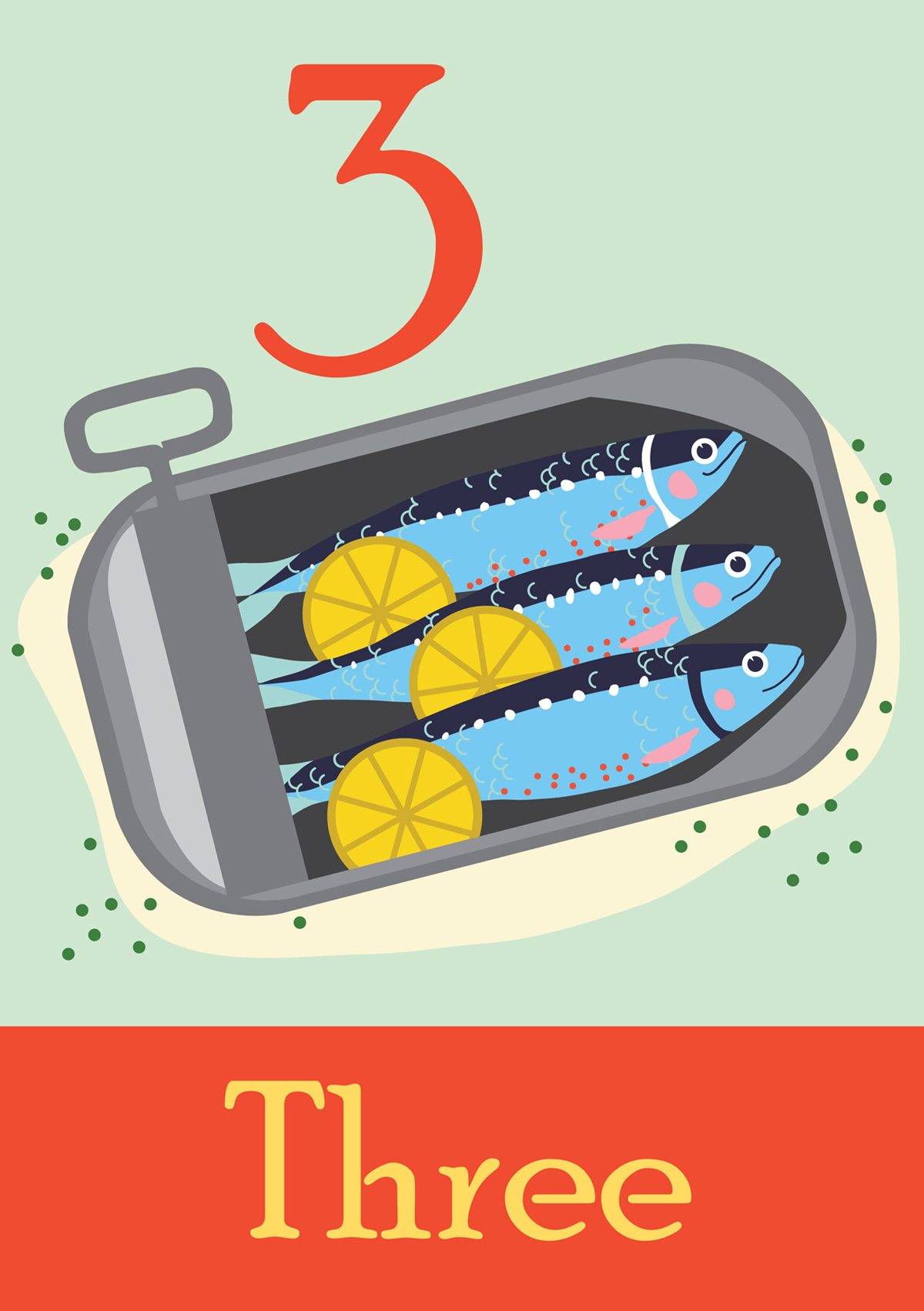Digital illustration of three little fishes