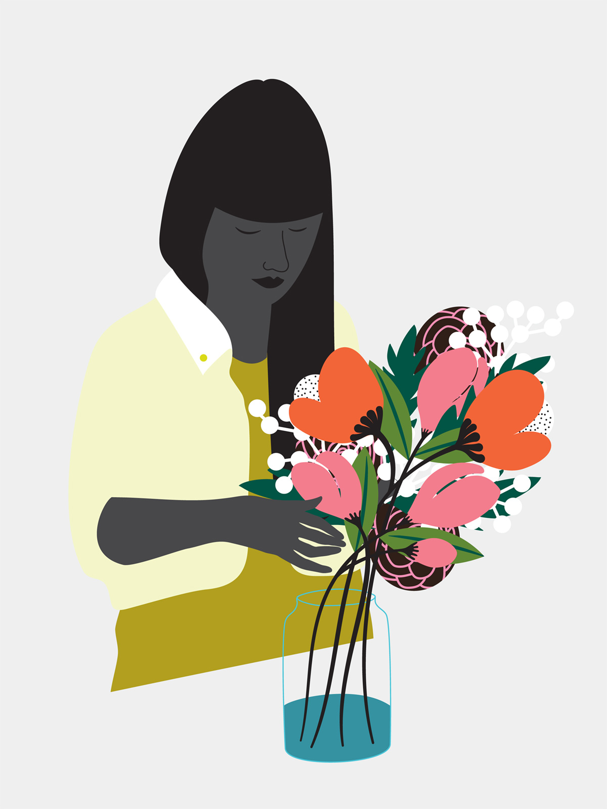 Vector art of women arranging flowers
