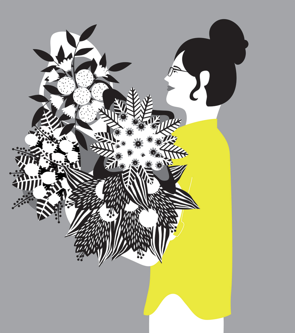 Vector art of woman holding flowers