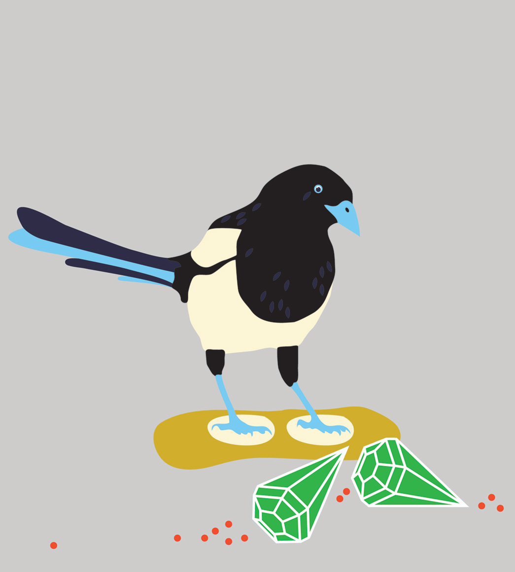Vector art of Magpie with gems