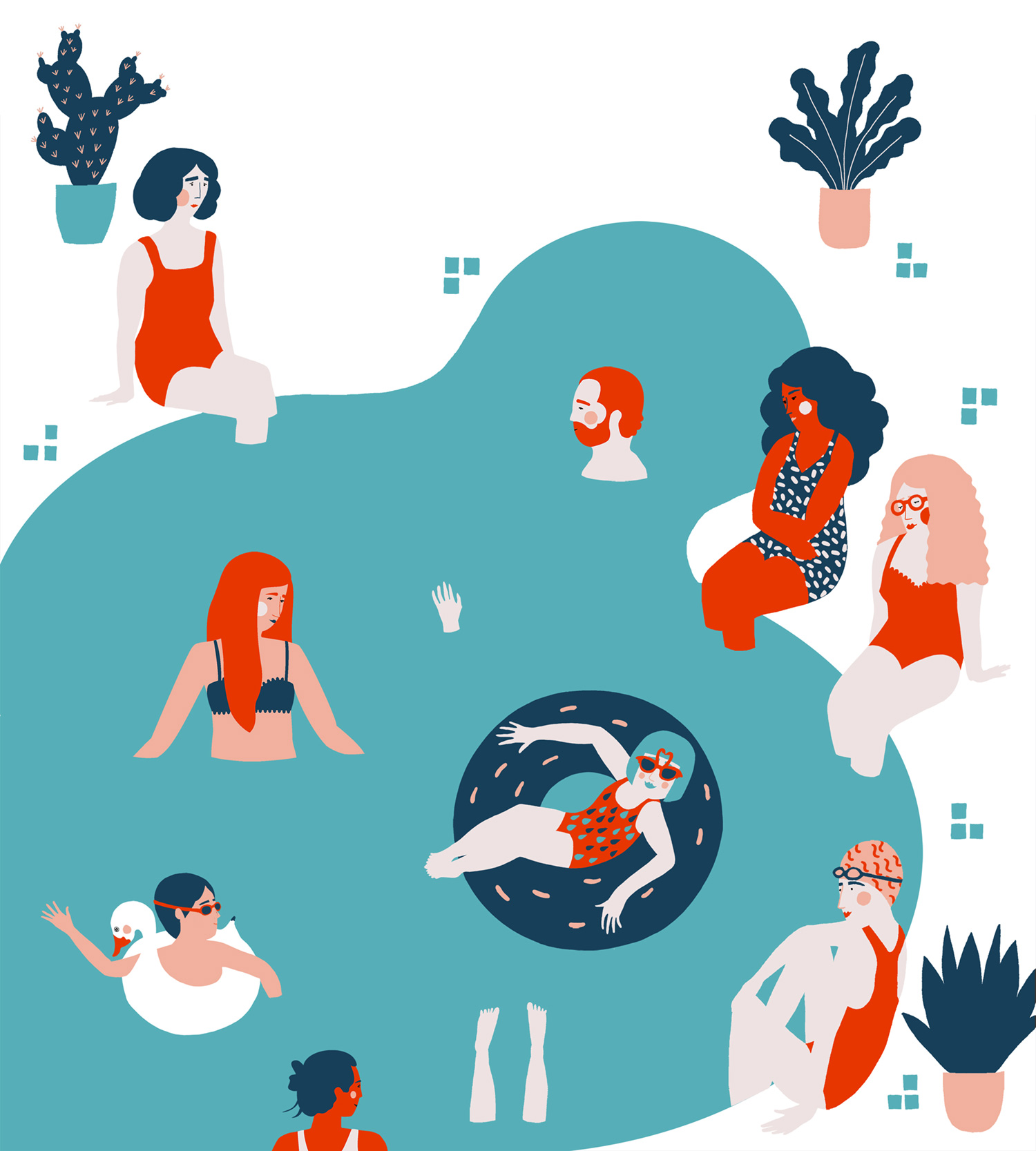 Pool party vector art