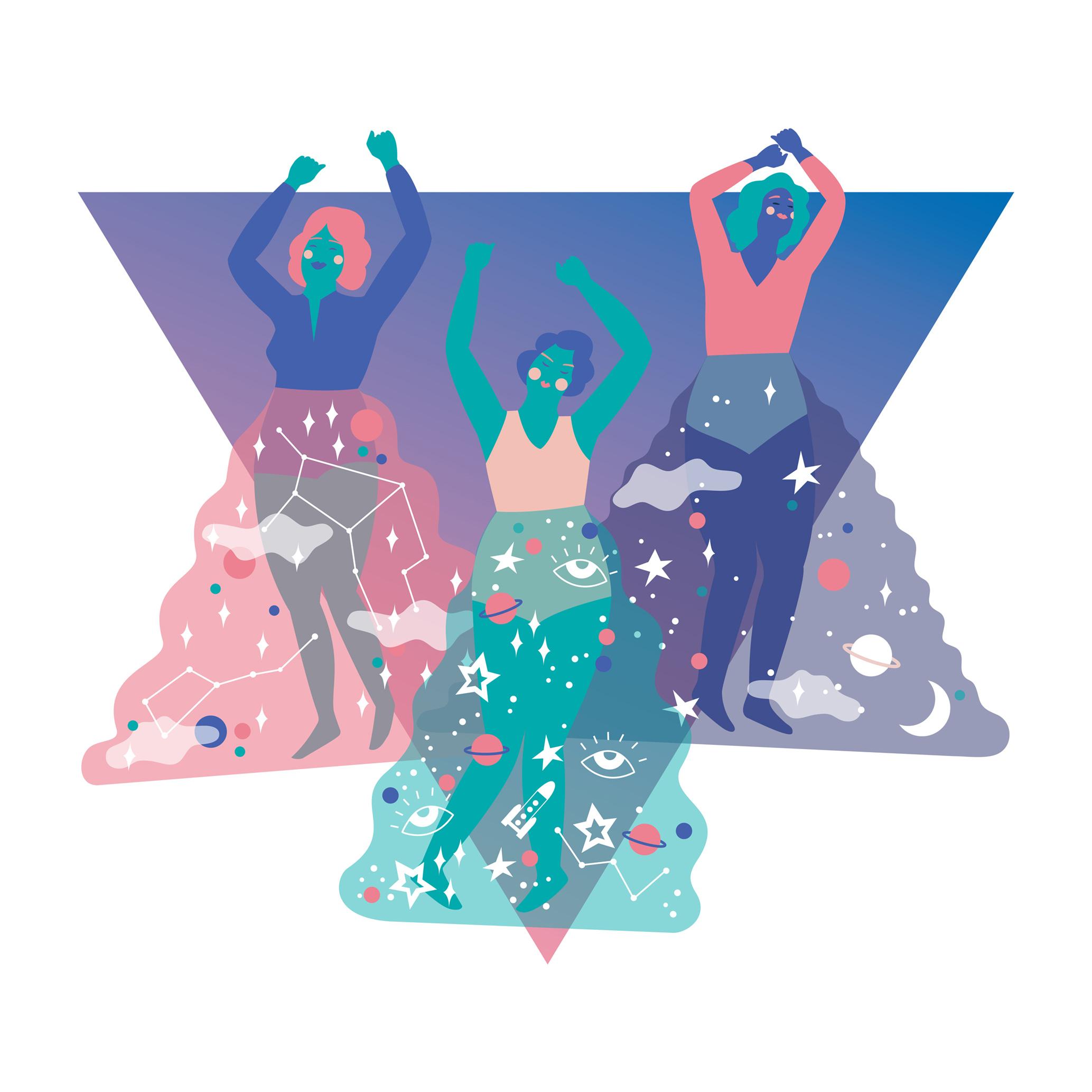 Dancing women vector art