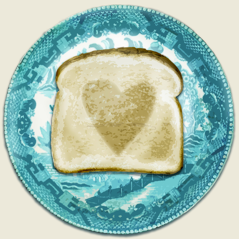 Home-made toast on decorated china plate