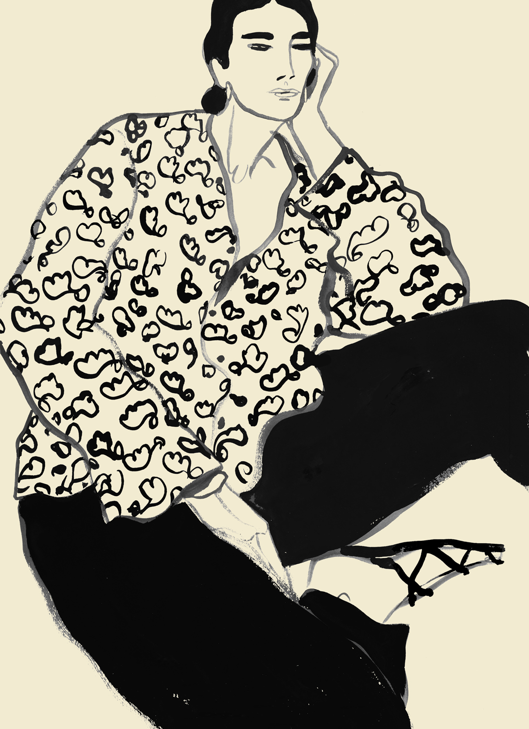 Fashion Illustration Of Woman Wearing Floral Shirts