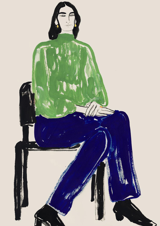 Apparel Illustration Of Green Bishop Sleeve Dress